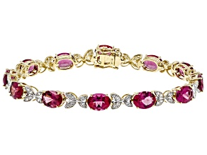 Pink Lab Created Bixbite 14k Yellow Gold Bracelet 13.16ctw