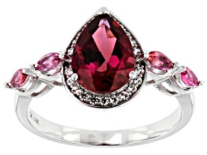 Pink Lab Created Bixbite Rhodium Over 14k White Gold Ring 2.06ctw