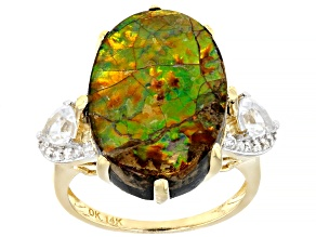Brown Ammolite Doublet 14k Yellow Gold Ring .75ctw