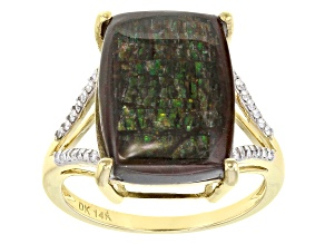 Multi-Color Ammolite Doublet 14k Yellow Gold Ring .12ctw