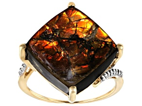 Brown Ammolite Doublet 14k Yellow Gold Ring .07ctw