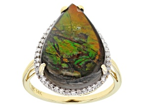 Multi-Color Ammolite 14k Yellow Gold Ring  .19ctw
