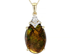 Brown Ammolite Doublet 14k Yellow Gold Pendant With Chain .23ctw