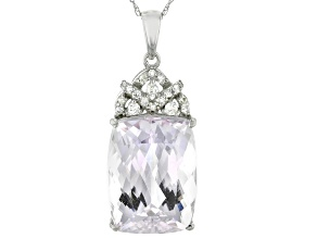 Pink Kunzite Rhodium Over 14k White Gold Pendant With Chain 12.42ctw
