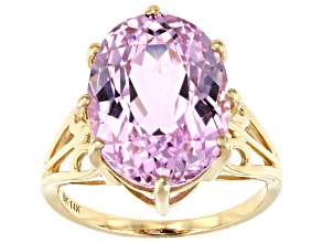 Pink Kunzite 14k Yellow Gold Ring 10.46ct