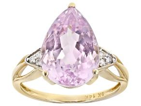 Pink Kunzite 14k Yellow Gold Ring 6.00ctw
