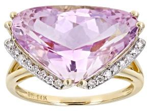 Pink Kunzite 14k Yellow Gold Ring 10.36ctw