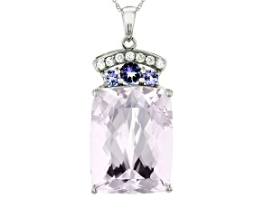 Pink Kunzite Rhodium Over 14k White Gold Pendant With Chain 23.06ctw