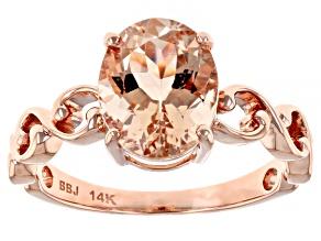 Peach Cor De Rosa Morganite 14k Rose Gold Ring 2.10ctw
