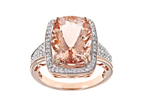 Peach Cor De Rosa Morganite 14k Rose Gold Ring 5.78ctw