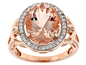 Pink Cor De Rosa Morganite 14k Rose Gold Ring 3.74ctw