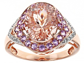 Peach Cor De Rosa Morganite 14k Rose Gold Ring 3.69ctw