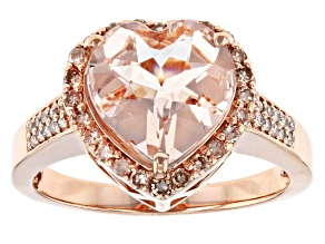 Pink Heart Cor De Rosa Morganite 14k Rose Gold Ring 2.70ctw
