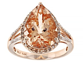 Peach Cor De Rosa Morganite 14k Rose Gold Ring 4.70ctw