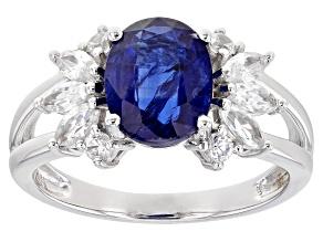 Blue Kyanite Rhodium Over 14k White Gold Ring. 2.81 ctw.