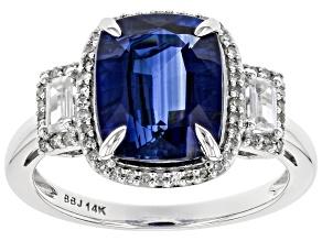 Blue Kyanite Rhodium Over 14k White Gold Ring 4.24ctw