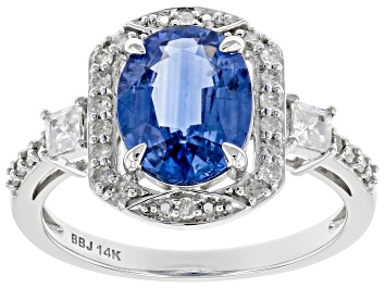 Picture of Blue Kyanite Rhodium Over 14k White Gold Ring 2.80ctw