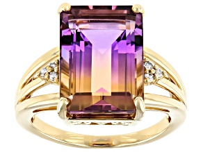 Bi-Color Ametrine 14k Yellow Gold Ring 6.93ctw