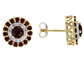 Red Garnet 14k Yellow Gold Earrings 1.02ctw