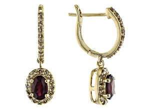 Red Garnet 14K yellow Gold Earrings 1.40ctw