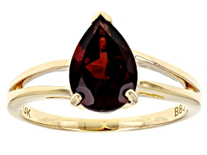 Red Garnet 14k Yellow Gold Solitaire Ring 1.53ct