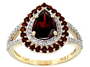 Red Garnet 14k Yellow Gold Ring 1.98ctw