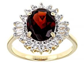 Red Garnet 14k Yellow Gold Ring 3.38ctw