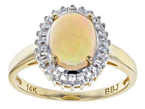 Multicolor Ethiopian Opal 14k Yellow Gold Ring 1.40ctw