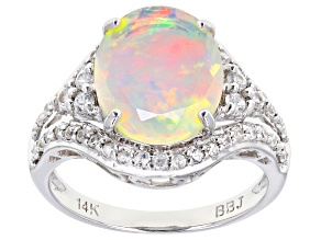 Multicolor Ethiopian Opal 14k White Gold Ring 2.58ctw