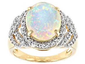 Multi-Color Ethiopian Opal 14k Yellow Gold Ring 2.57ctw