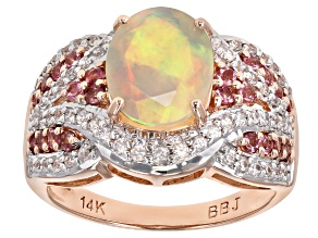 Multicolor Ethiopian Opal 14k Rose Gold Ring 2.08ctw