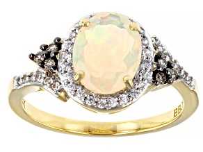 Multi-Color Ethiopian Opal 14k Yellow Gold Ring 1.03ctw