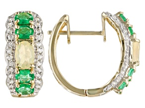Multicolor Ethiopian Opal 14k Yellow Gold Hoop Earrings 1.68ctw