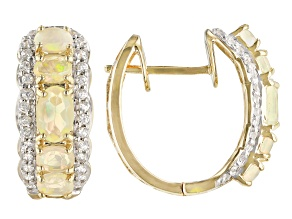 Multicolor Ethiopian Opal 14k Yellow Gold Hoop Earrings 1.56ctw