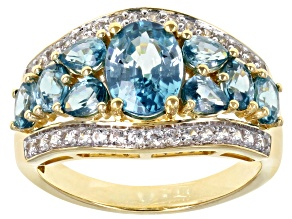 Blue Zircon 14k Yellow Gold Ring 3.75