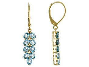 Blue Zircon 14k Yellow Gold Earrings 4.39ctw