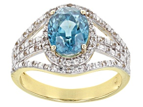 Blue Zircon 14k Yellow Gold Ring 2.96ctw