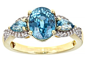 Blue Zircon 14k Yellow Gold Ring 3.17ctw