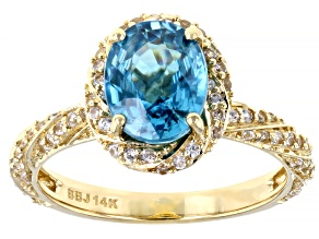 Blue Zircon 14K Yellow Gold Ring 2.98ctw