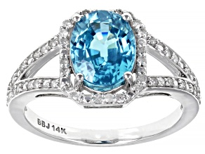 Blue Zircon Rhodium Over 14k White Gold Ring 2.78ctw