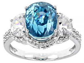 Blue Zircon Rhodium Over 14k White Gold Ring 6.88ctw