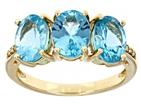 Blue Apatite 14k Yellow Gold 3-Stone Ring 3.10ctw