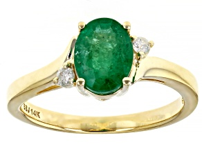 Green Zambian Emerald With White Diamond 14k Yellow Gold Ring 1.00ctw