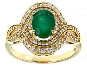 Green Emerald 14K Yellow Gold Ring 1.30ctw