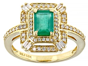 Green Emerald 14k Yellow Gold Ring 1.16ctw