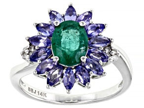 Oval Zambian Emerald With Tanzanite And White Diamond Rhodium Over 14k White Gold Ring 2.10ctw