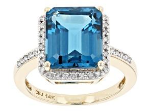London Blue Topaz 14k Yellow Gold Ring 6.57ctw