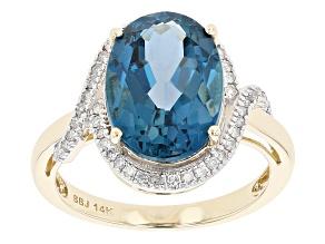 London Blue Topaz 14k Yellow Gold Ring 6.69ctw