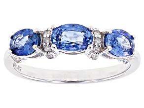 Blue Ceylon Sapphire Rhodium Over 14k White Gold Ring 1.37ctw