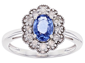 Round Ceylon Sapphire With Round White Diamond Rhodium Over 14k White Gold Ring 1.16ctw
